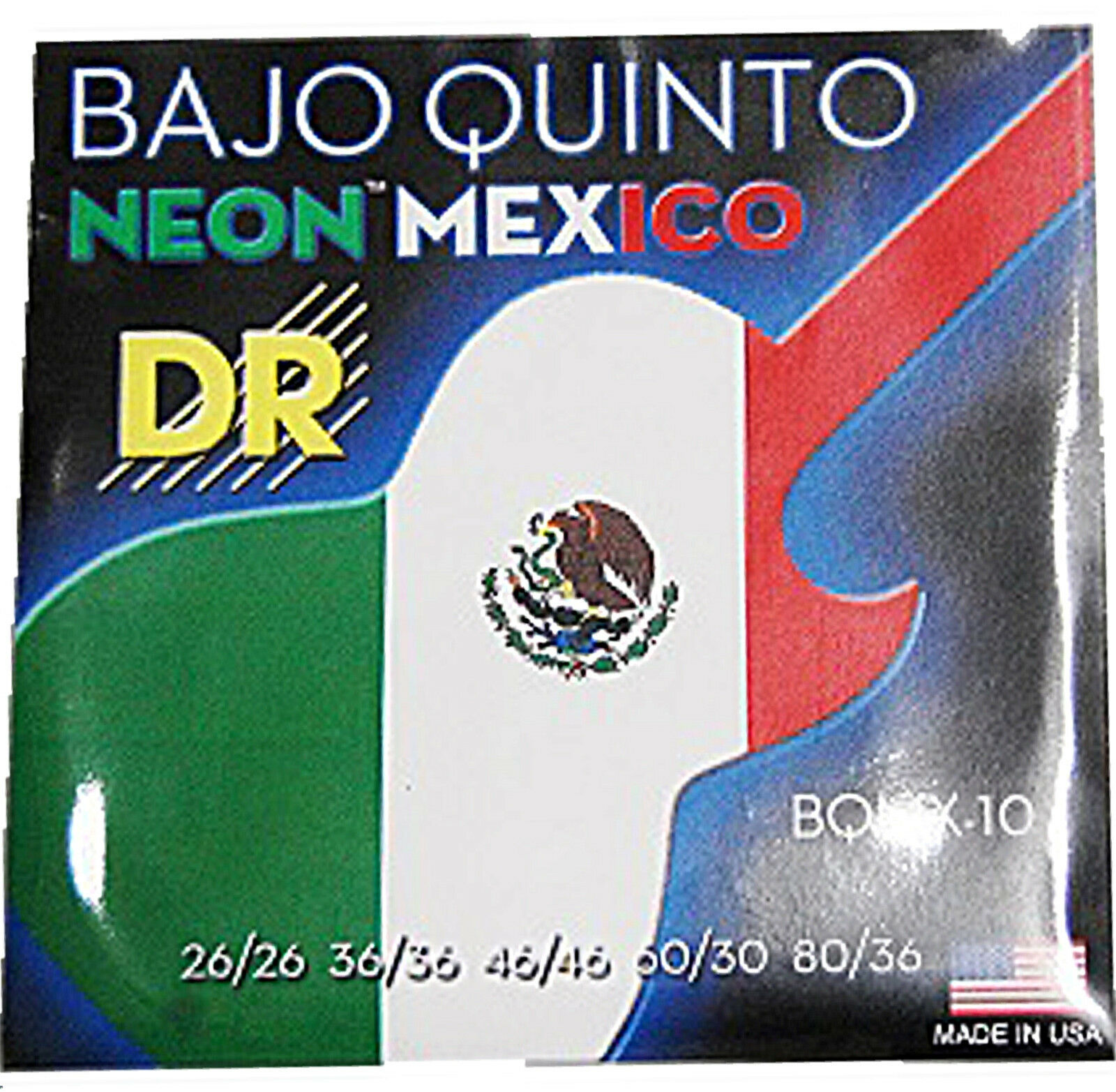 DR Strings BQMX-10 Neon Mexico Bajo Quinto guitar Strings Ne