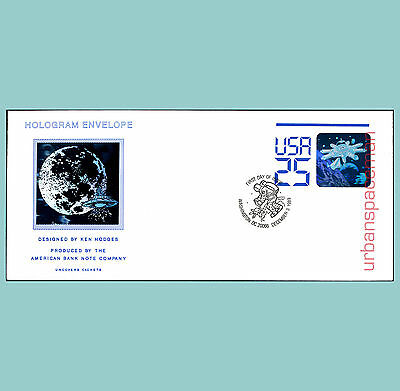 First Day Cover Sc U617 Shuttle & Space Station FDoI Cancel Uncovers Holograms