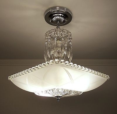 Custom Ceiling Light Fixture Chandelier With 1930s Vintage Square Glass Shade