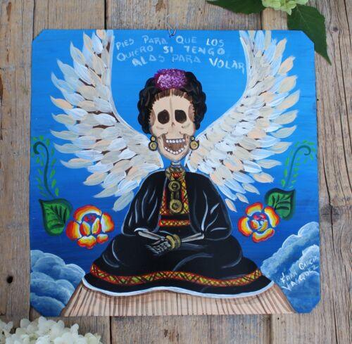 Day of the Dead Tin Retablo Frida Kahlo Skeleton Wings Oaxaca Mexican Folk Art