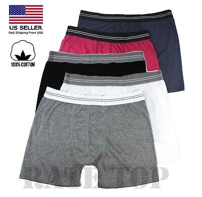 Lot 3 or 6 Pack Men Boxer Briefs 100% Cotton Flex Waist Band Shorts