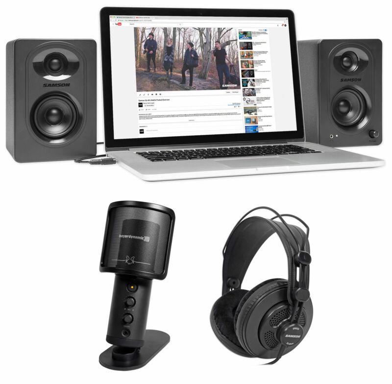 Beyerdynamic FOX USB Podcast Podcasting Microphone+Samson Headphones+Monitors