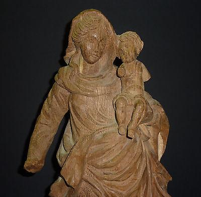 Barock Madonna mit Jesuskind Heiligenfigur Barocker Stil Muttergottes Holz Figur