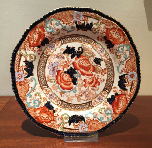 """Wood & Sons Verona Asian Pattern Rust & Blue Floral 9"""" Scalloped Luncheon Plate"""