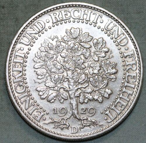 1929D Germany~ Weimar Republic~ 5 Marks Oak Tree ~ Silver ~Free US Shipping