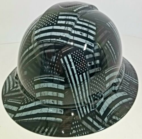 NEW FULL BRIM Hard Hat custom hydro dipped AMERICAN FLAG BLACK OPS RECON EDITION 4