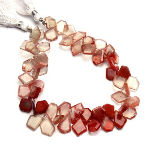 """Natural Gem Andesine Labradorite Faceted Slice Shape Beads 8.5"""" Strand 97Cts."""