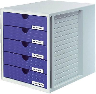 Schubladenbox SYSTEMBOX KARMA - DIN A4/C4, 5 geschlossene Schubladen, grau-öko-