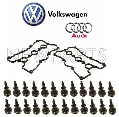 For Audi A4 A8 Q5 Q7 VW Touareg Set of Left & Right Valve Cover Gaskets 24 Bolts