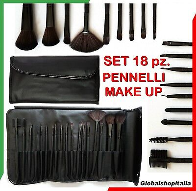 Set 18 pennelli Make Up Professionali Trucco Pennello Ombretto Fard Brush Cipria