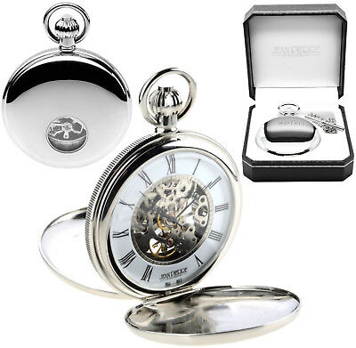 Jean Pierre Twin-Lid Skeleton Pocket Watch Chrome Plated Visible Escapement g256