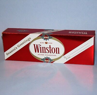2 Vintage Winston King Size Filter Christmas Cigarette Carton Sleeves Vg  Red