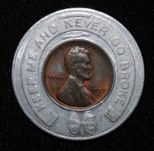1957-D FELTON HARDWARE RUSSELLVILLE AL ENCASED LINCOLN CENT (03172)