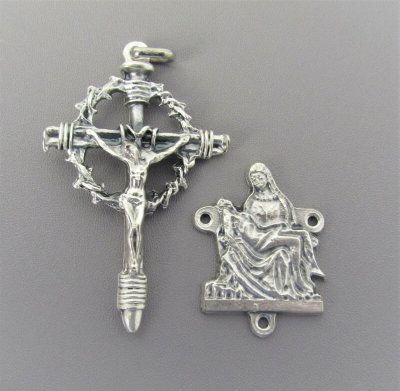 Rosary CENTER & CRUCIFIX Set Rosaries PIETA center  Crown with Thorns Cross L110