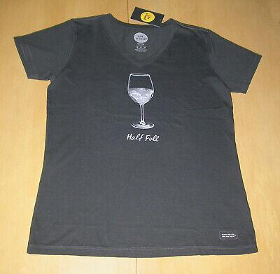 NWT Life is Good Crusher Half Full Wine Glass T-Shirt Top Womens Sz M