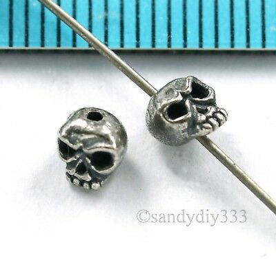 4x BALI OXIDIZED STERLING SILVER SKULL SPACER BEADS 4.6mm 4.3mm (Bali Sterling Silver Spacer Beads)