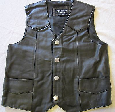 KIDS TODDLERS BLACK SOFT LEATHER BIKER MOTORCYCLE MC VEST SMALL