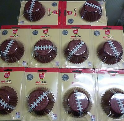 FOOTBALL THEMED FOIL CUPCAKE BAKING CUPS LOT OF 240 READY FOR SUPERBOWL PARTY - Football Themed Parties