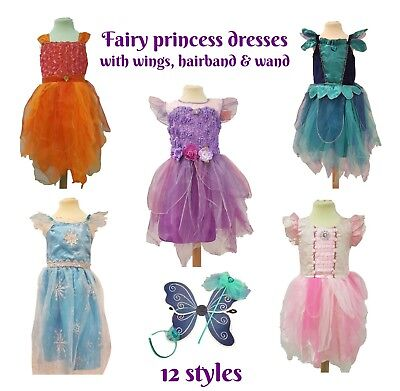 Girls Fairy Princess Dress Costume Gemstone Wings Headband Fancy Dress Tutu  - Fairy Princess Costumes