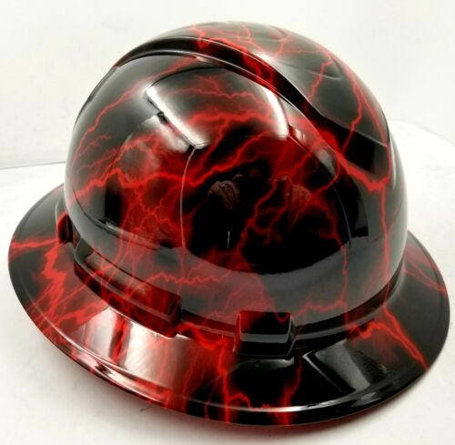 Hard Hat custom hydro dipped , OSHA approved FULL BRIM, CANDY RED LIGHTNING BOLT 2
