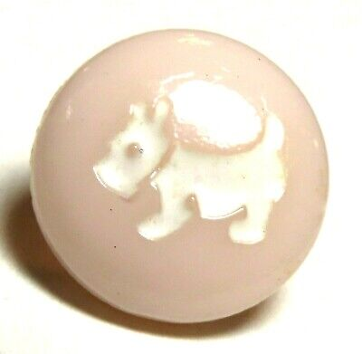 ADORABLE 1940'S BLUSH PINK GLASS CHILD'S BUTTON w/WHITE SCOTTY DOG IN RECESS