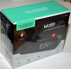 La Crosse Wattz 3-in-1 Projection Alarm Clock Wireless Charger USB Temperature