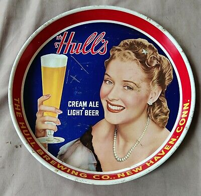 Vtg 40s HULL' S HULL HULLS Cream Ale Light Beer Tray NEW HAVEN CT