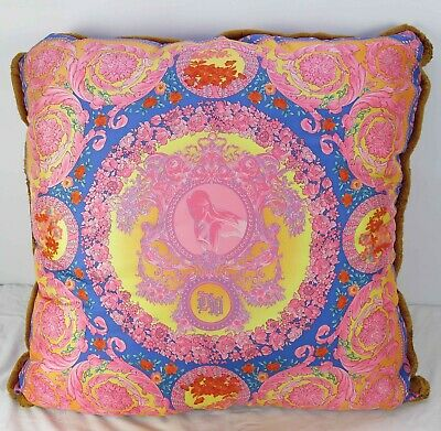Mint Very Large Donatella VERSACE 100% Silk Decorative Throw Pillow 90cm