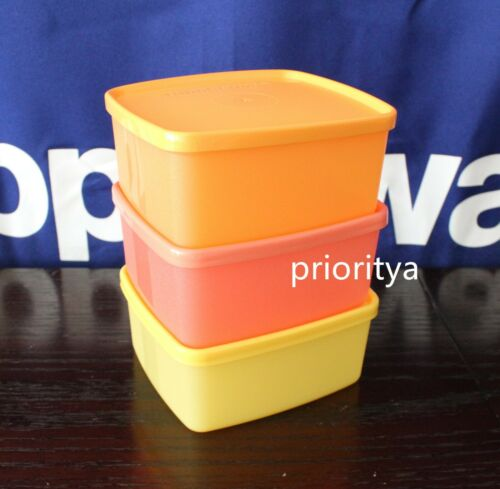 Tupperware Small Freezer It Square Rounds 400ml Container Set of 3 New