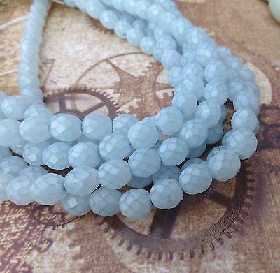 Strand of 50 - 8 mm Faceted Glass Beads Opal Light Blue Czech Glass Beads