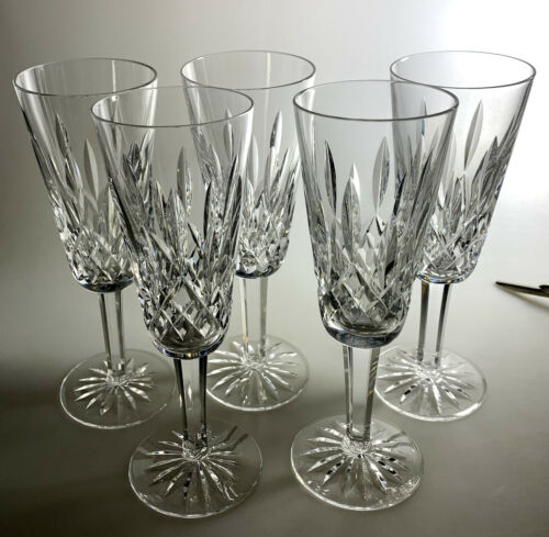 """WATERFORD LISMORE FLUTED CHAMPAGNES (SET OF 5) 7 1/4"""" X 2 1/2"""""""
