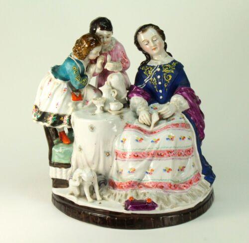 ~ Antique FINE Porcelain Hand Painted Large Figural Group Tea Time Statue Figure
