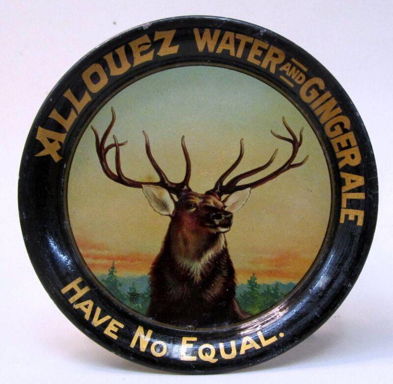 elk circa 1910 ALLOUEZ WATER AND GINGER ALE tin litho tip tray ashtray