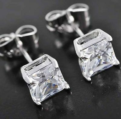 4CT Princess Cut Heavy Basket Stud Earrings Solitaite 14K White Gold VVS1