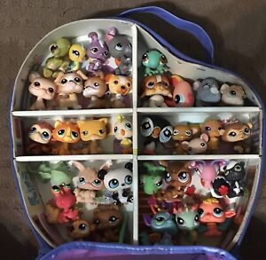Littlest Pet Shop Carry Case with 35 Animals Cat Dog Bunny