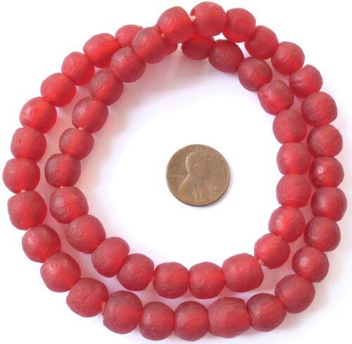 Ghana Red matte Krobo Glass African trade Beads-Ghana