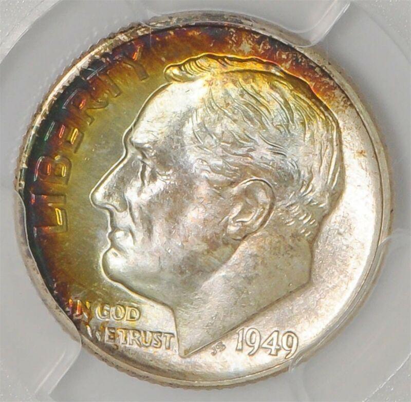 1949-D Roosevelt Dime 10c MS67+ FB Color PCGS 937744-1