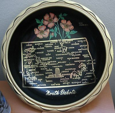 "Vintage North Dakota Serving Bowl 10"" Black Metal State Tourist Souvenir Tray"