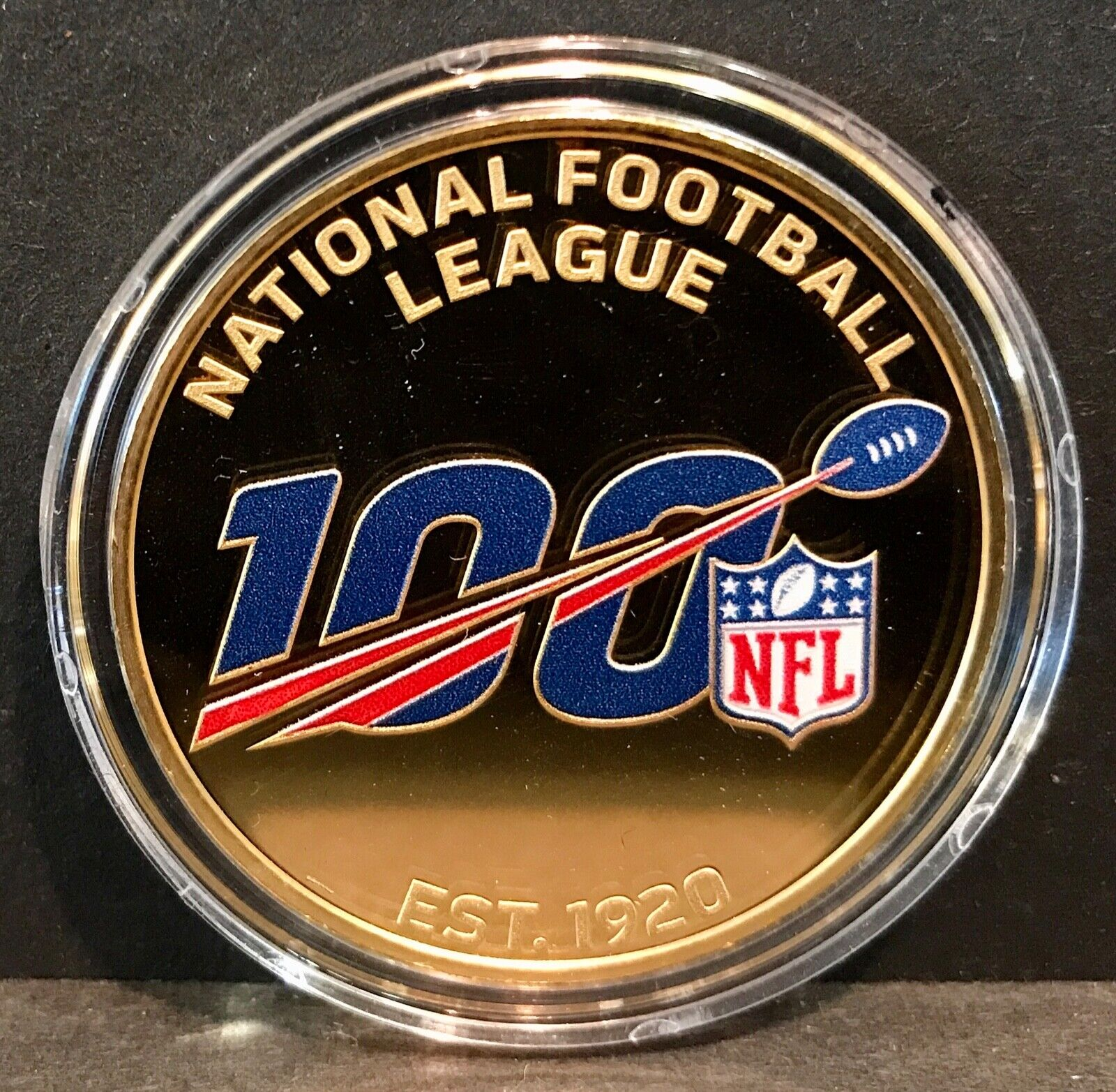 Nfl 100 commemorative coin - 1.5 troy ounces .9999 fine 24kt gold - 100 minted