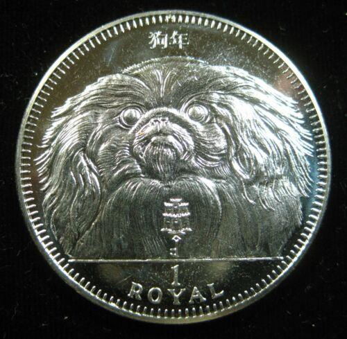 Gibraltar 1 Crown 1994 Pekingese Dog BU Proof-like 16i# Money Coin
