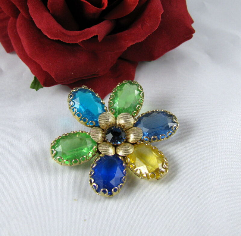 Vintage Colorful Open Back Flower  Pin  Brooch FERAL CAT RESCUE