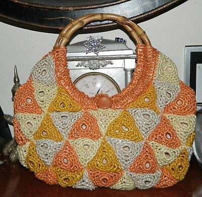 1950s Handbags, Purses, and Evening Bag Styles VINTAGE Rockabilly 1950s Original Crochet Knit Bamboo Handles Retro Handbag $85.21 AT vintagedancer.com