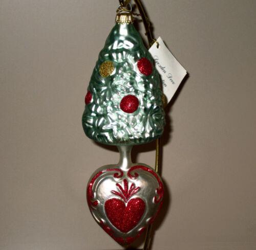 Larry Fraga Tree On Heart glass Christmas ornament #5026, New