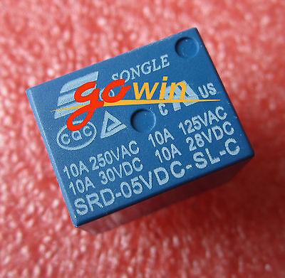 10PCS RELAY 5V SRD-5VDC-SL-C T73-5V SONGLE Power Relay NEW GOOD QUALITY