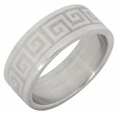 Greek Design Ring - Greek Key Design Stainless Steel Band Ring Comfort Fit 8mm High Polish