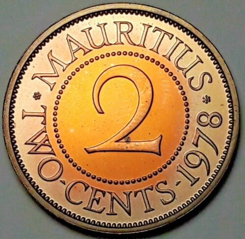 1978 MAURITIUS 2 TWO-CENTS PROOF COLOR UNC BU WONDERFUL LIGHT TONED (DR)