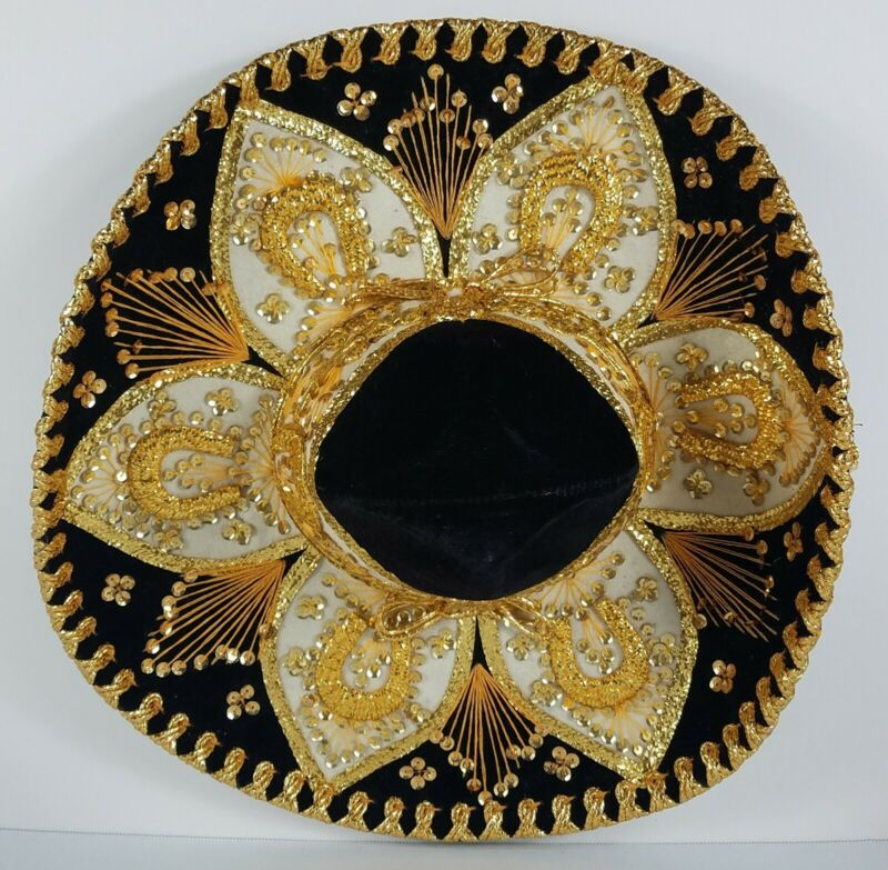 Huge Salazar Yepez Mariachi Black Gold Sombrero NOT A SOUVENIR VGC