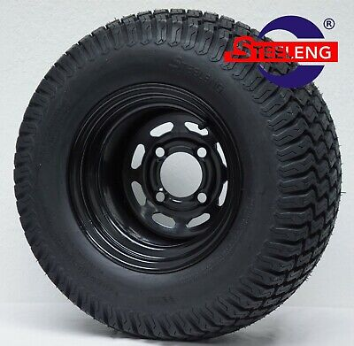 "GOLF CART 10""x7'' BLACK STEEL WHEELS and 20"" STREET/TURF TIRES (SET OF 4)"