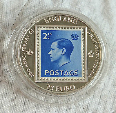 EDWARD VIII 1996 60th ANNIV OF ABDICATION PIEDFORT 25 EURO PATTERN SILVER PROOF