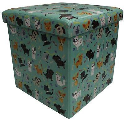 Otomano Cubo Acolchado Caja Almacenaje & Asiento Infantil Brillante Perros